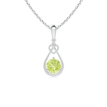 Peridot Knotted Heart Pendant with Diamond in 14K White Gold (5mm Peridot) -