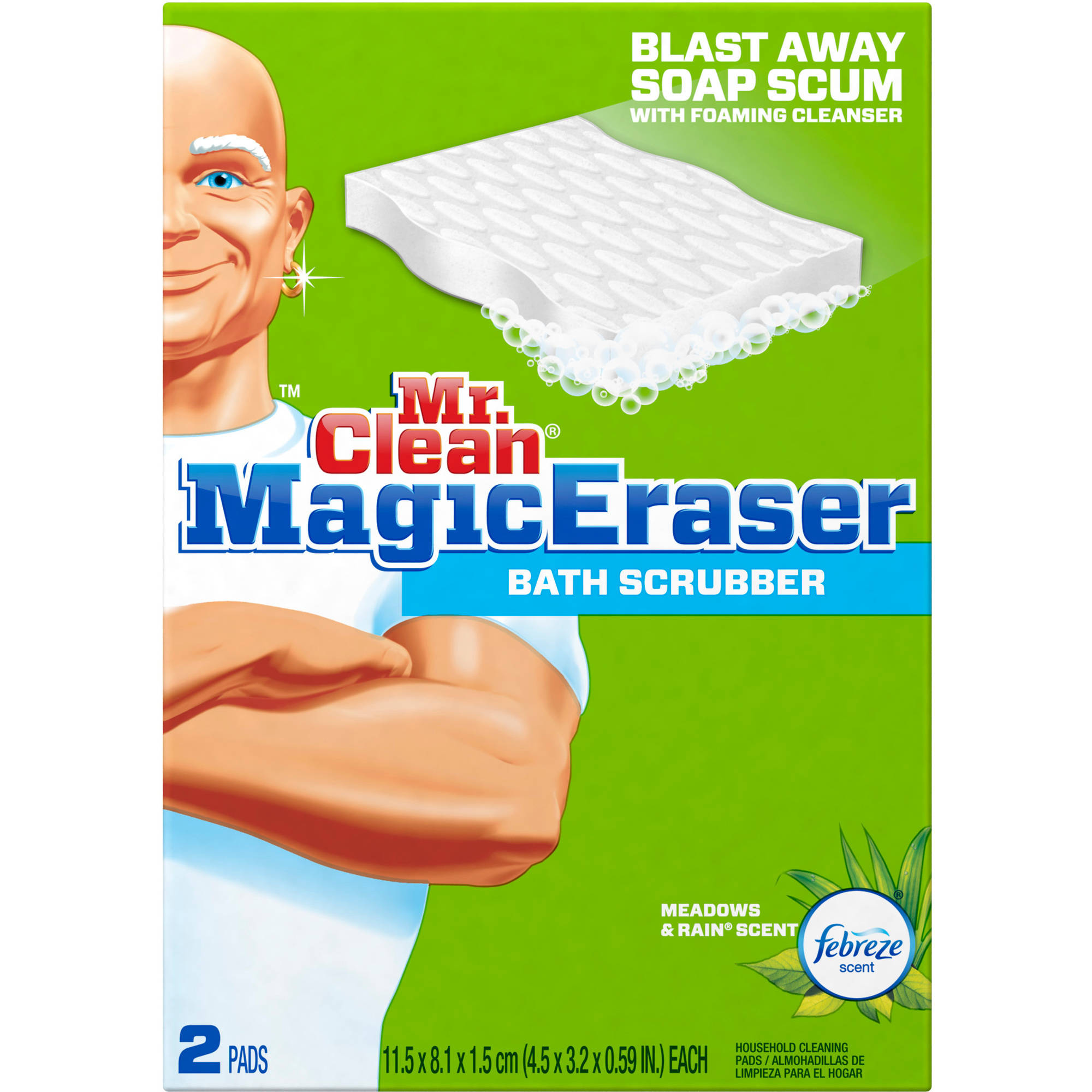 Mr. Clean Magic Eraser Bath Scrubber Febreze Meadows & Rain Scent Cleaning Pads, 2 count