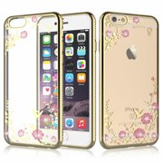 """iPhone 6 Plus Case, iPhone 6S Plus Cover, Tekcoo [Tflower] Ultra Thin TPU Soft Case Bling Diamond Rhinestone Clear Panel Cover For Apple iPhone 6 Plus / iPhone 6s Plus 5.5"""" -Rose Gold"""