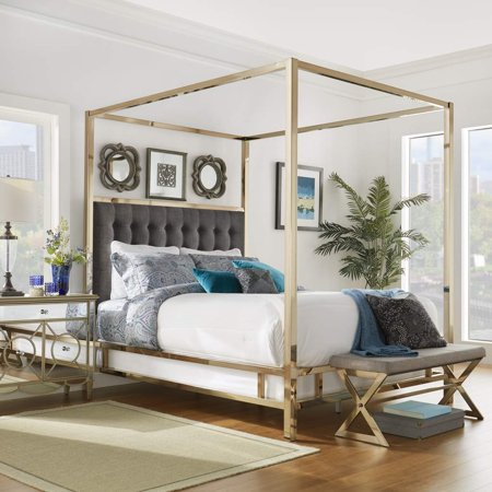 Weston Home Umberton Eastern King Size Canopy Bed In Champagne Gold