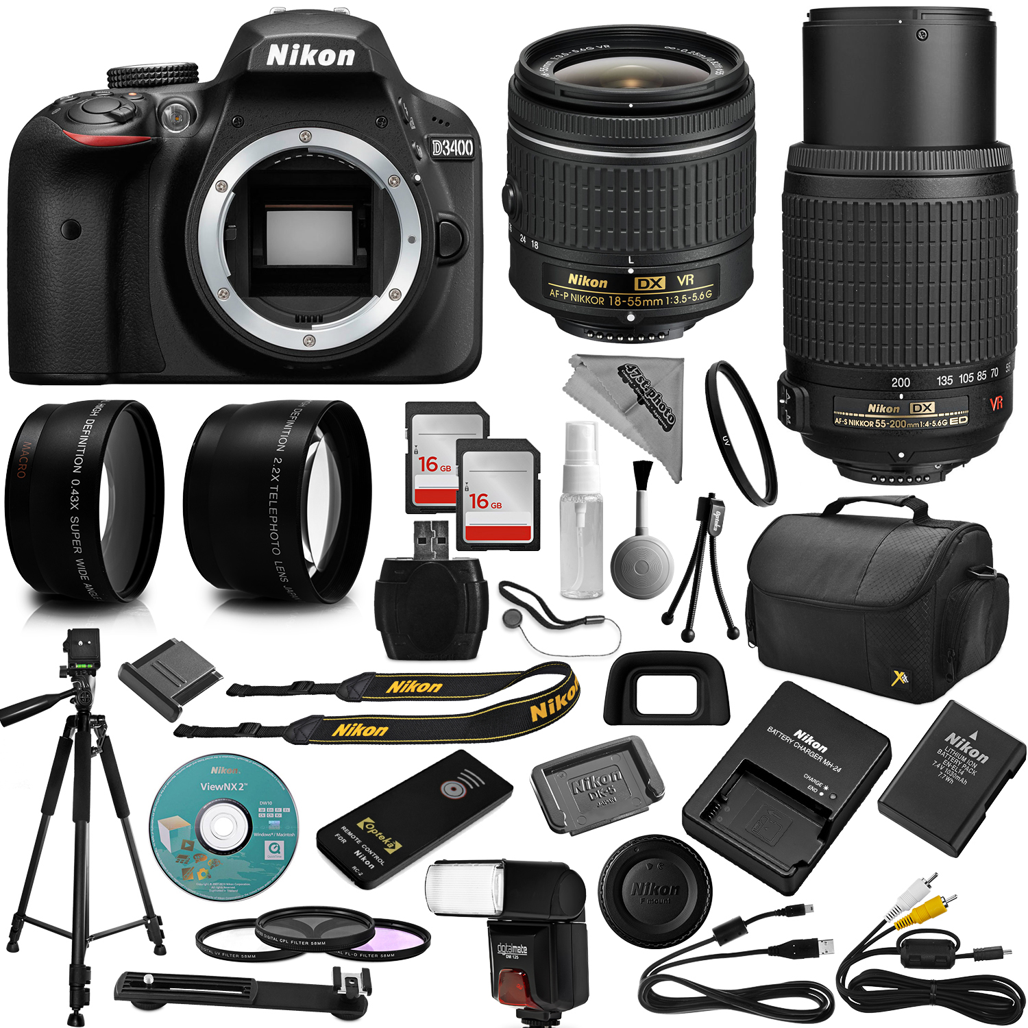 Nikon D3400 DSLR Camera + 18-55mm and 55-200mm AF-P DX VR + 32GB Memory + 2.2X Telephoto and 0.43X Macro Lense Kit + Bounce Swivel Flash + Tripod + Padded Case Bag + UV CPL FLD Filter Bundle + Remote