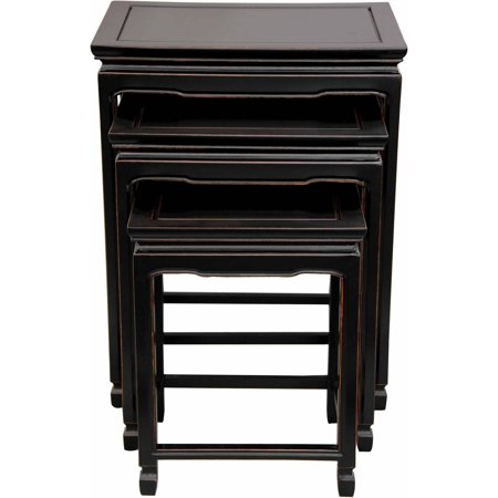 Oriental Rosewood Furniture - Rosewood Nesting Tables, Antique Black