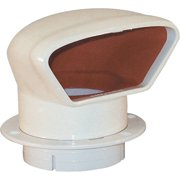 Marinco Snap-In Deluxe Low Profile PVC Cowl Vent, White with Bright Red Interior (Includes White Snap-In Deck Plate and Cover)