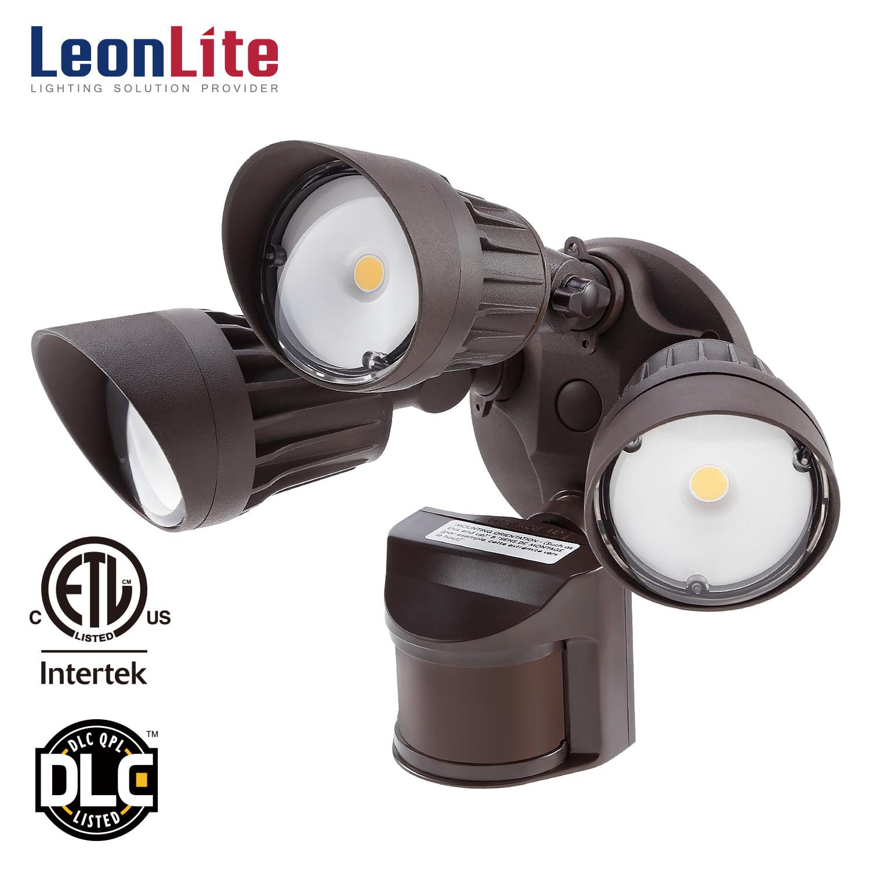 LEONLITE 30W 3-Head Outdoor Motion Light, LED Security Light for Green Monday, 5000K Daylight, Bronze