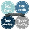 Baby Monthly Milestone Stickers - First Year Set of Baby Boy Month Stickers for Photo Keepsakes - Shower Gift - Set of 20