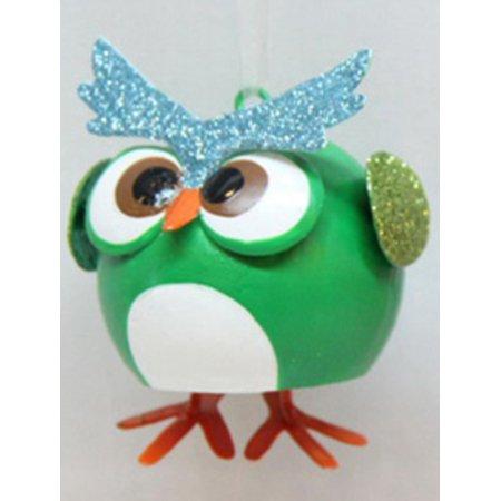 "3"" Whimsical Glittered Green Owl with Dangle Feet Christmas Ornament"