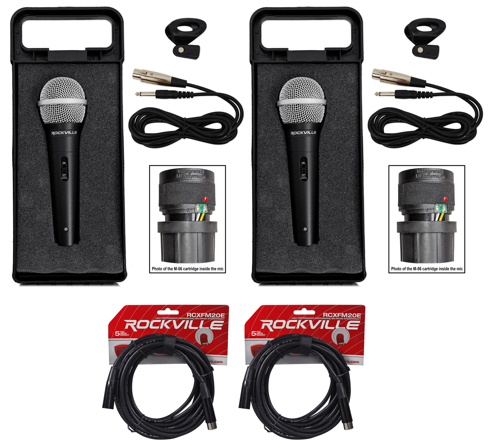 (2) Rockville RMC-XLR Metal Handheld Wired Microphones+(2) 100% OFC XLR Cables by ROCKVILLE