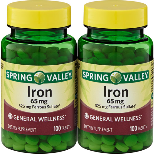 Spring Valley Iron 65 mg, 100 count, 2-Pack