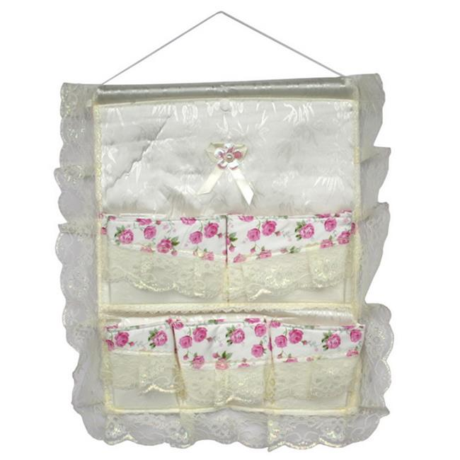Lace and Allover Pink Rose/Wall Hanging/ Wall Organizers / Wall Pocket /Wall Baskets - image 1 of 1