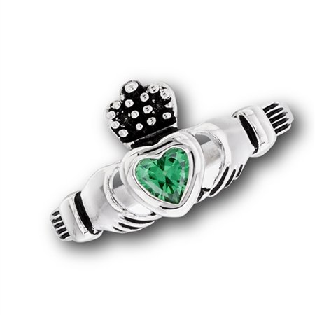 Claddagh Simulated Emerald Heart Promise Ring New Stainless Steel Cute Band Size 6 ()