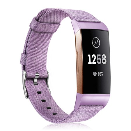 Fintie Canvas Woven Bands Compatible for Fitbit Charge 3 and Charge 3 SE  Fitness Activity Tracker Strap Wrist Lavender