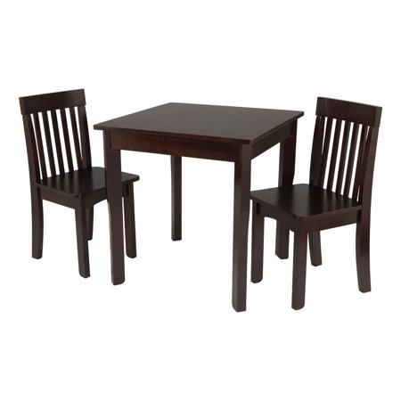 KidKraft Square Table and 2 Avalon Chairs Set, (Kidkraft Farmhouse Table And Chair Set Espresso)