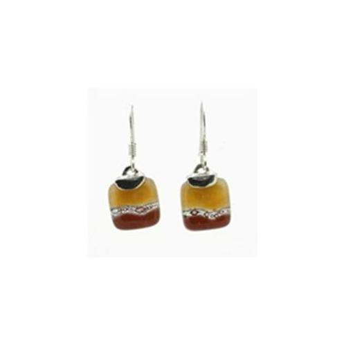 Gifts With Humanity CJGSEMS-229554 Caramel Mini Glass Square Earrings with Sterling Silver