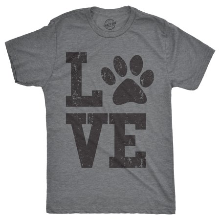 Mens Love Paw Tshirt Cute Adorable Dog Lover Pet Tee For (50's Clothing For Guys)