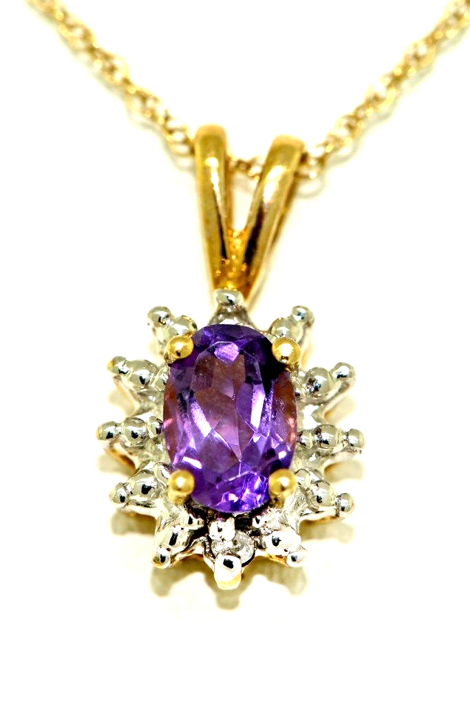February Birthstone Pendant Necklace Amethyst 14K Yellow Gold or 14K White Gold by Elie Int.