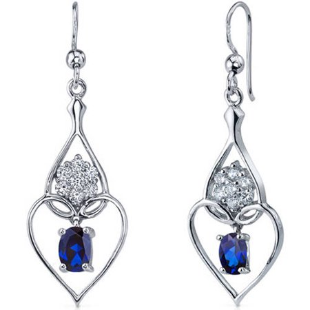 2.00 Carat T.G.W. Heart-Shape Sapphire Rhodium over Sterling Silver Drop Earrings