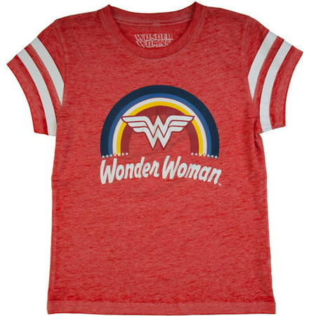 Wonder Woman Rainbow Logo Burnout T-Shirt (Little Girls & Big Girls)](Wonder Woman Shirt With Cape)