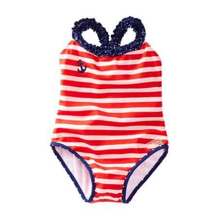 fe677c2262631 Azul Little Girls Red White Stripe In The Navy Ruffle One Piece Swimsuit