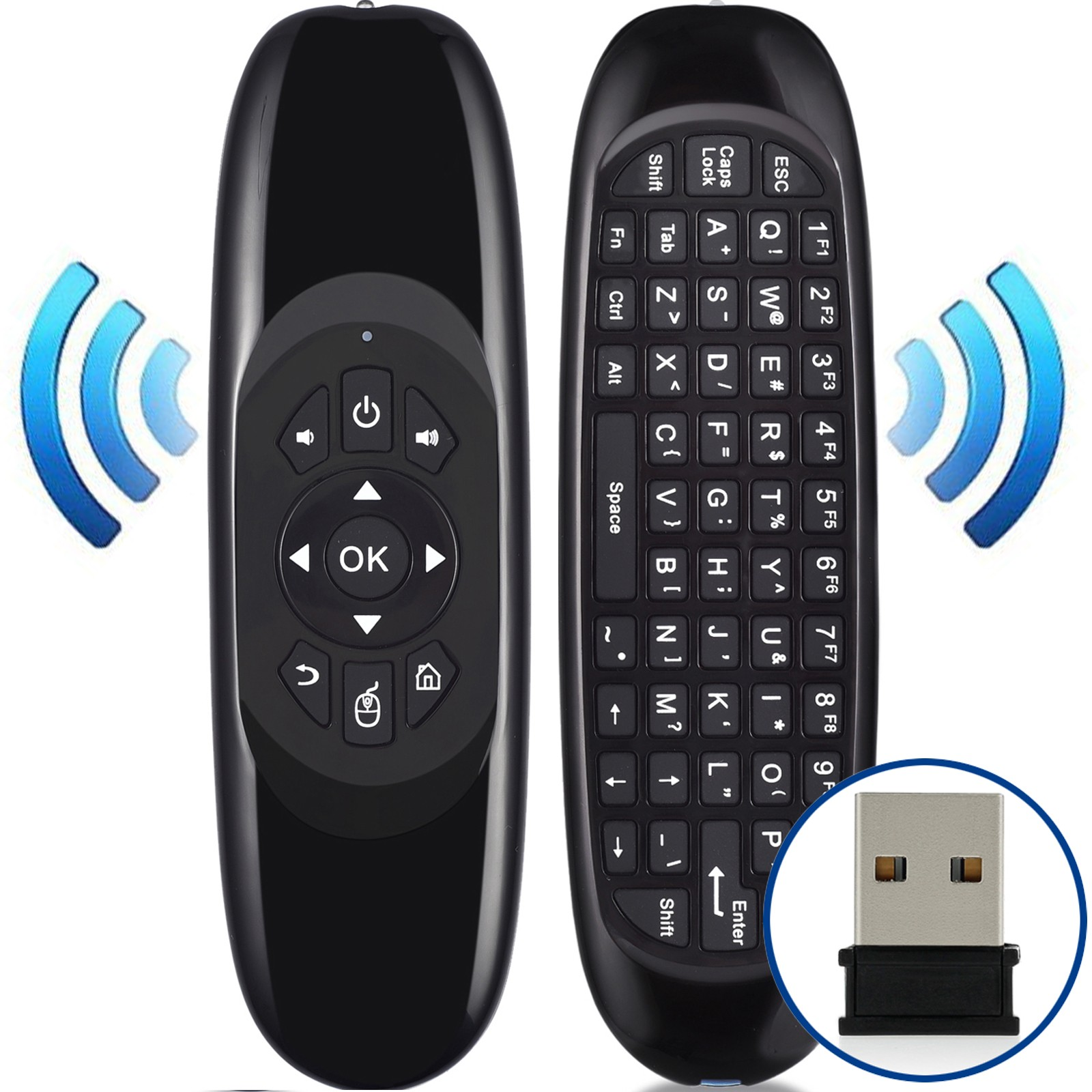 Air Mouse Remote Keyboard Wireless Keyboard Mouse Remote Control 6-Axis Gyroscope USB 2.0 Receiver 2.4G Wireless Mini Keyboard Mouse for Android Mac OS Windows Linux PC Pad TV STB Game Player