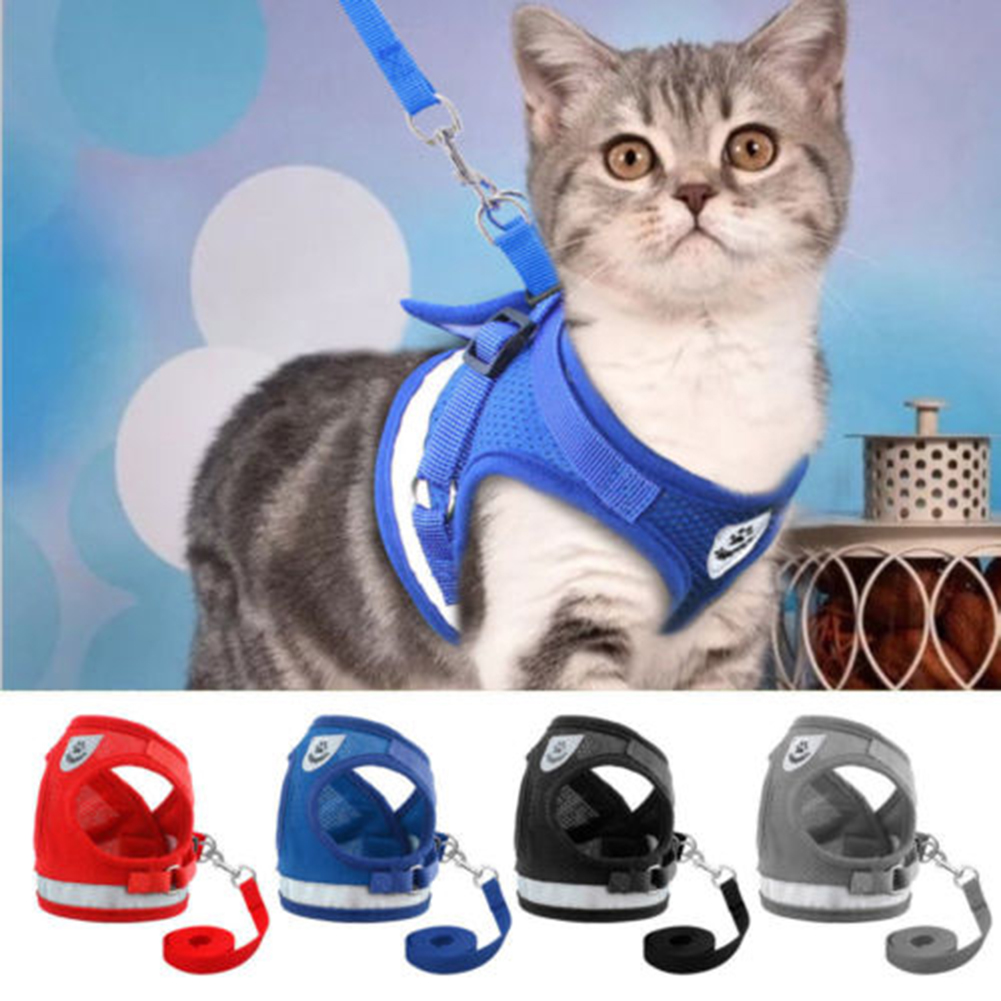 Moderna Pet Cat Small Dog Adjustable Reflective Walking Harness Vest with Lead Leash