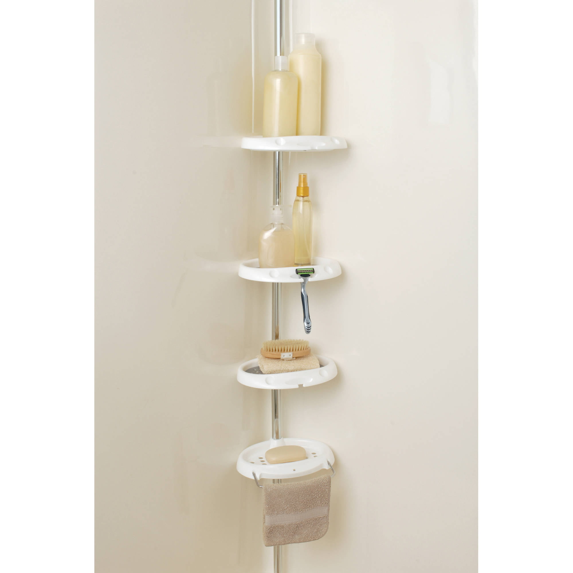. Tension Shower Caddy   White   Walmart com