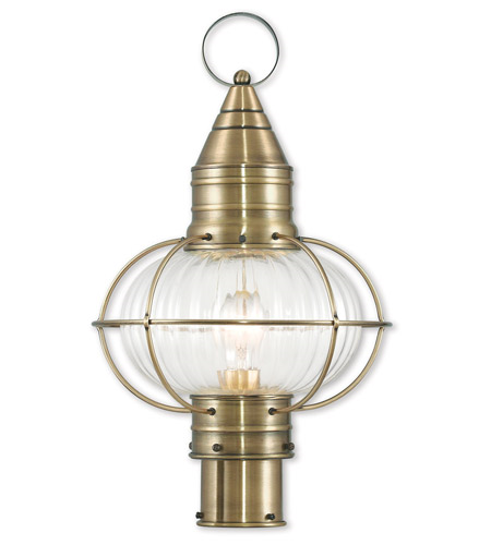 Outdoor Post 1 Light Newburyport With Hand Crafted Solid Brass Hand Blown Fluted Clear Antique Brass size 20 in 100 Watts - World of Crystal