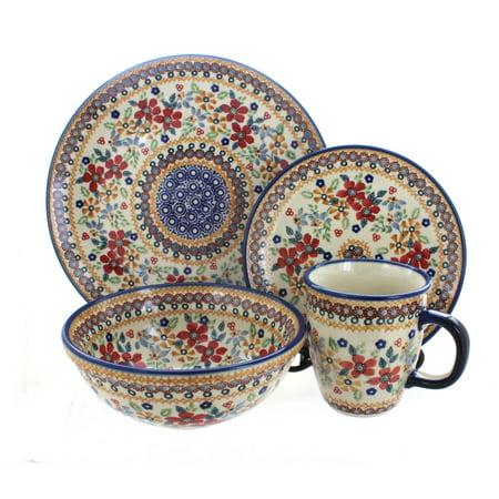 New 2 Pottery (Polish Pottery Red Daisy 16 Piece Dinner)