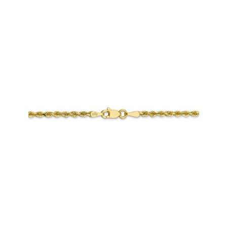 b73530ba93c2e 2.25 mm 10k Yellow Gold Handmade Diamond-Cut Rope Chain Necklace - 22 Inch