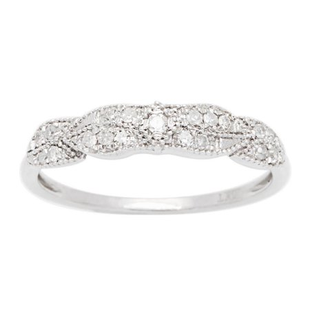 10k White Gold Diamond Vintage Style Anniversary Ring (1/7 cttw, I-J Color, I2-I3 Clarity)