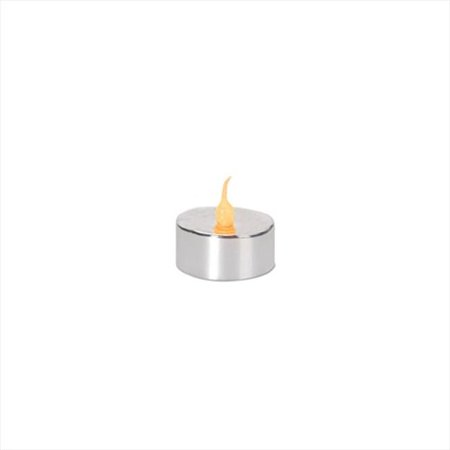 NorthLight LED Lighted Battery Operated Flicker Flame Christmas Tea Light Candles, Silver - Pack 4