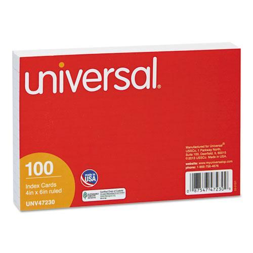 Universal Ruled Index Cards, 4 x 6, White, 100 per Pack                                                                                 (Set of 5)