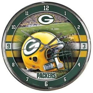 Green Bay Packers Round Chrome Wall Clock by Wincraft, Inc.