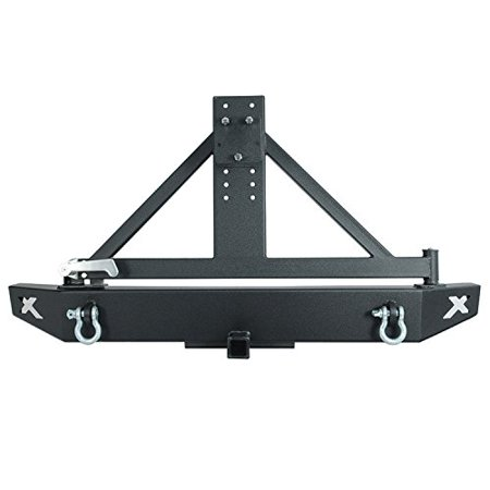 Jeep Bumper Tire Carrier - Paramount Restyling 51-0325 Black Rear Rock Crawler Bumper with Tire Carrier (Jeep Wrangler JK)