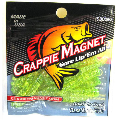 Leland's Lures Crappie Magnet Lure, Chartreuse with Silver Flash, Pack of 15