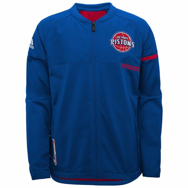 Detroit Pistons NBA Adidas Blue 2016-17 Authentic On-Court Team Issued Pro Cut Warm Up  Jacket For Men
