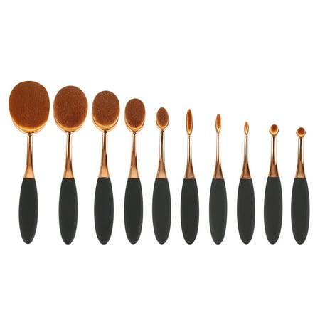 Bake Pan Lip Brush (Rose Gold 10Pcs Oval Toothbrush Lip Powder Blusher Foundation Eye Makeup Brushes MZ)