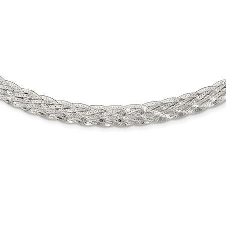 Sterling Silver 6.75 MM Braided Fancy Necklace, 18