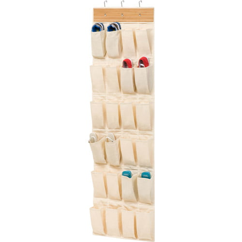 Honey-Can-Do 24 Pocket Over The Door Shoe Organizer, Bamboo by Honey Can Do
