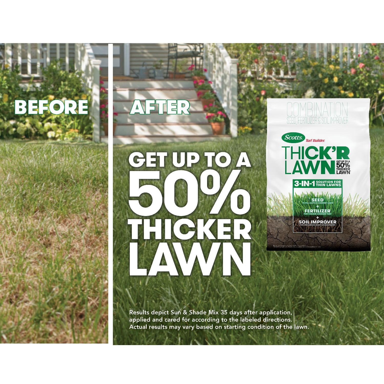 Scotts Turf Builder Thick R Lawn Tall Fescue Mix 12 Lb 3 In 1 Solution Walmart Com Walmart Com