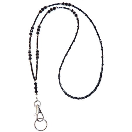 Hidden Hollow Beads Black Crystal Women's Beaded Fashion Lanyard Necklace, Jewelry ID Badge and Key Holder, 34 in. - Jewelry Lanyards