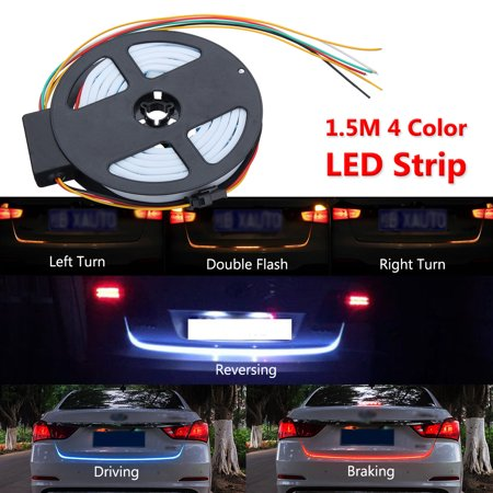 1.5M 4 Color LED Strip Car Rear Trunk Tailgate Brake Turn Signal Light Flow - Rear Signal Light