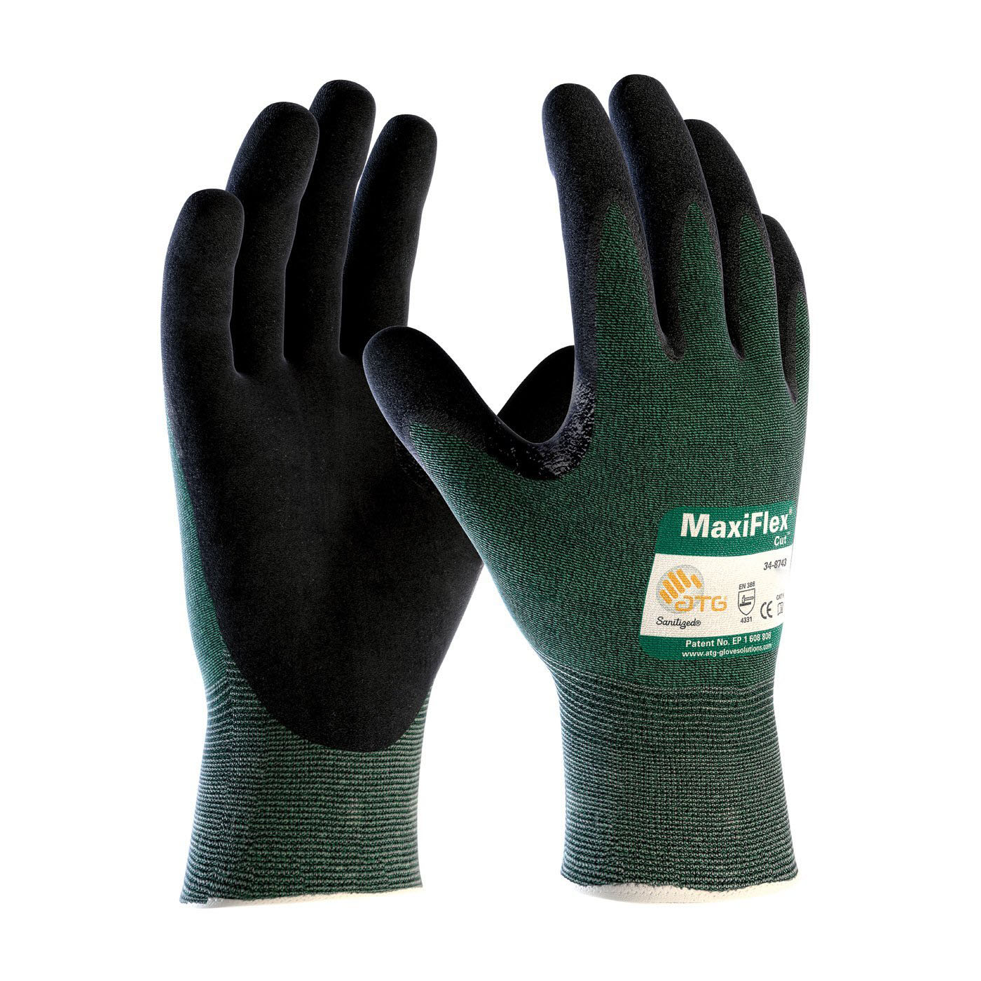 MaxiFlex Cut 34-8743 Nitrile Coated Work Gloves with Green Knit Shell and Premium Nitrile Coated Micro-Foam Grip, XL, 3 Pair
