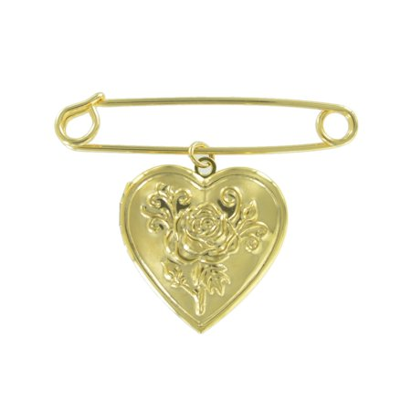 "Safety Pin Brooch 2"" Gold Tone Rose Heart Photo Locket Charm Dangle Middle"