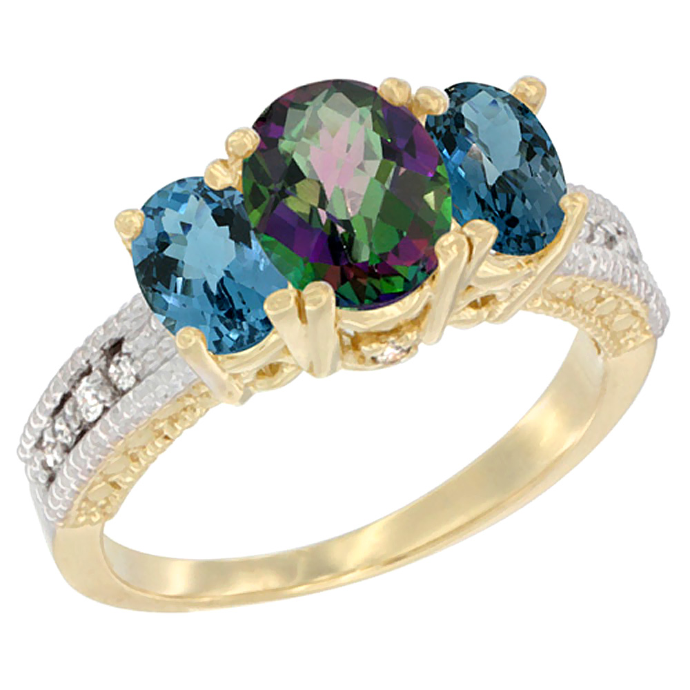 10K Yellow Gold Diamond Natural Mystic Topaz Ring Oval 3-stone with London Blue Topaz, sizes 5 10 by WorldJewels