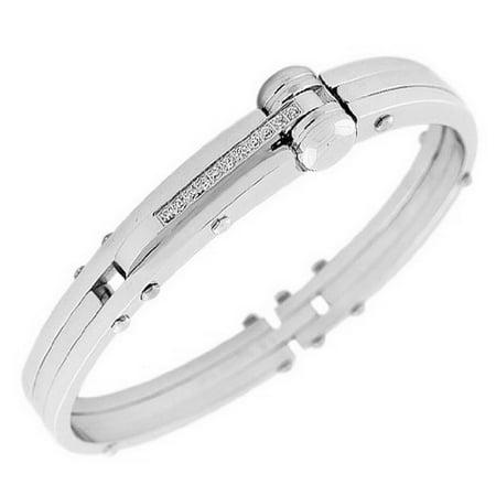 Stainless Steel Silver Tone Men S Handcuff Bracelet