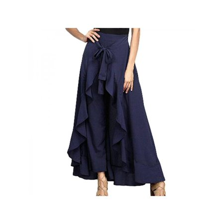 Lavaport Women Ruffle Palazzo Trousers Boho Wide Leg Skirt (Leg Avenue Ruffled Skirt)