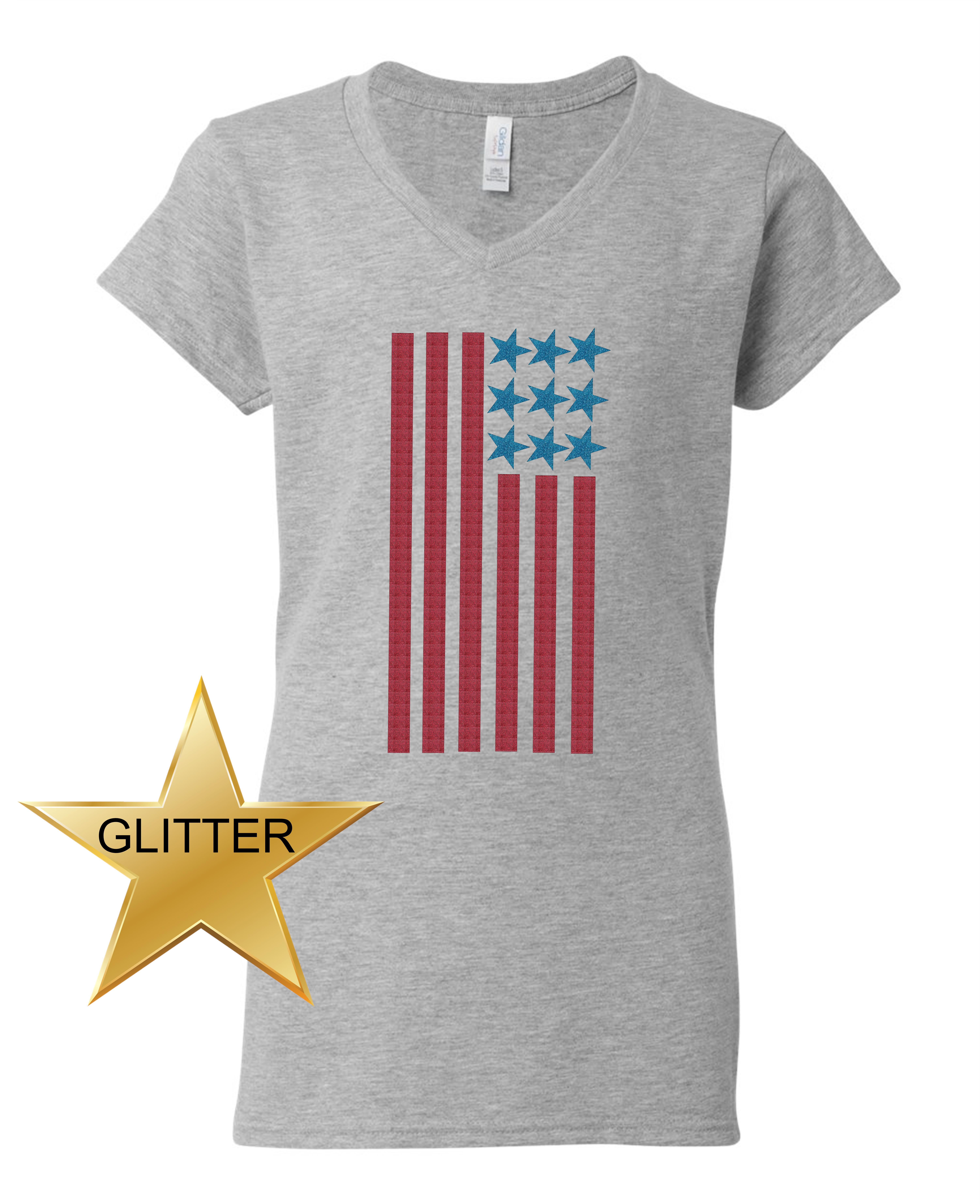 Custom Apparel R Us - American Flag Glitter 4th of July Patriotic Clothing  Womens V Neck T-Shirt Top - Walmart.com 99af642307