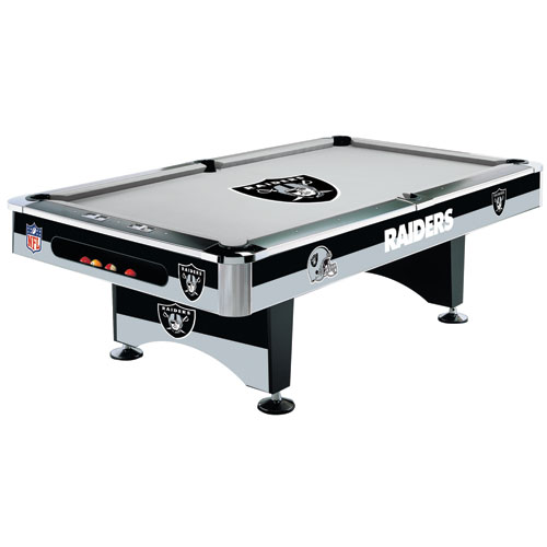 NFL Oakland Raiders Pool Table - 8 Foot with Logo Cloth