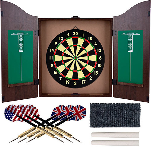 Trademark Games Realistic Walnut Finish Dartboard Cabinet Set