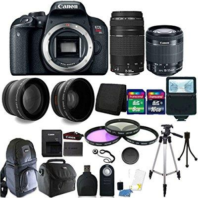 canon eos rebel t7i 24.2mp digital slr wifi enabled camera black with ef-s 18-55 is stm and ef 75-300mm lenses + 24gb top accessory bundle
